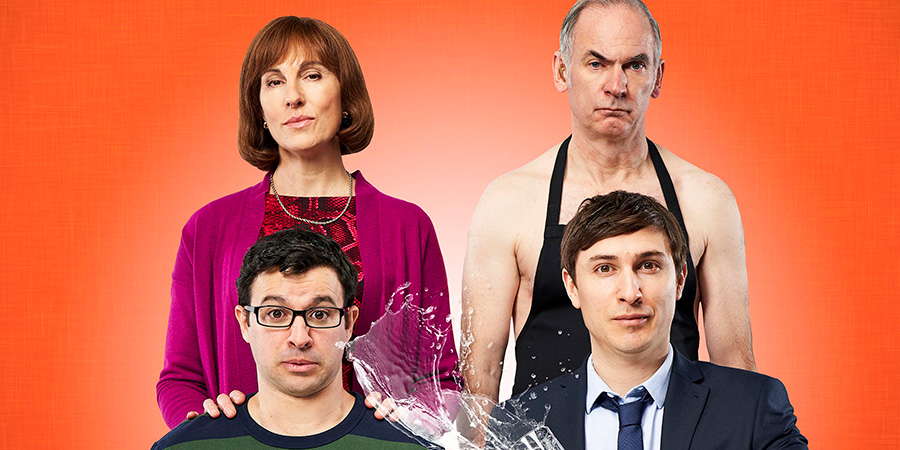Friday Night Dinner. Image shows from L to R: Jackie (Tamsin Greig), Adam (Simon Bird), Martin (Paul Ritter), Jonny (Tom Rosenthal).