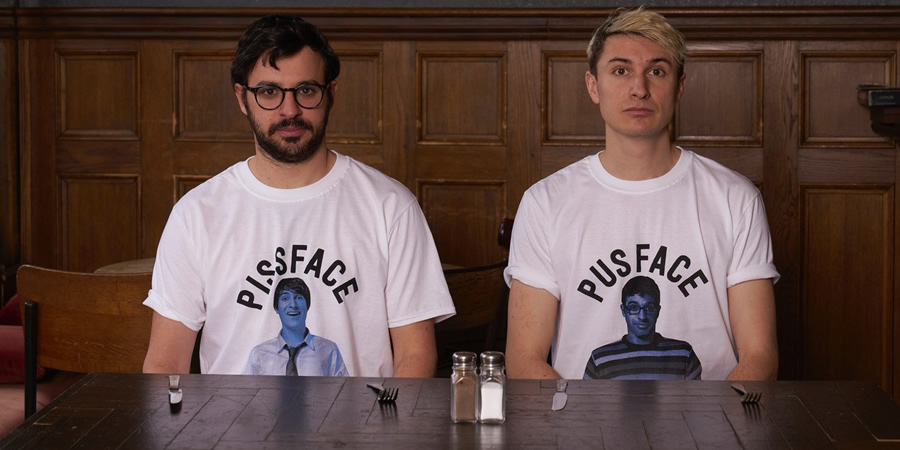 Friday Night Dinner. Image shows from L to R: Adam (Simon Bird), Jonny (Tom Rosenthal).