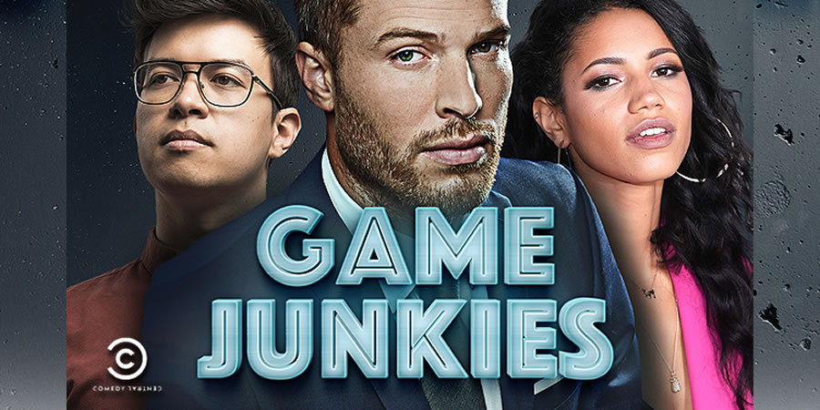 Game Junkies. Image shows from L to R: Phil Wang, Rick Edwards, Vick Hope.
