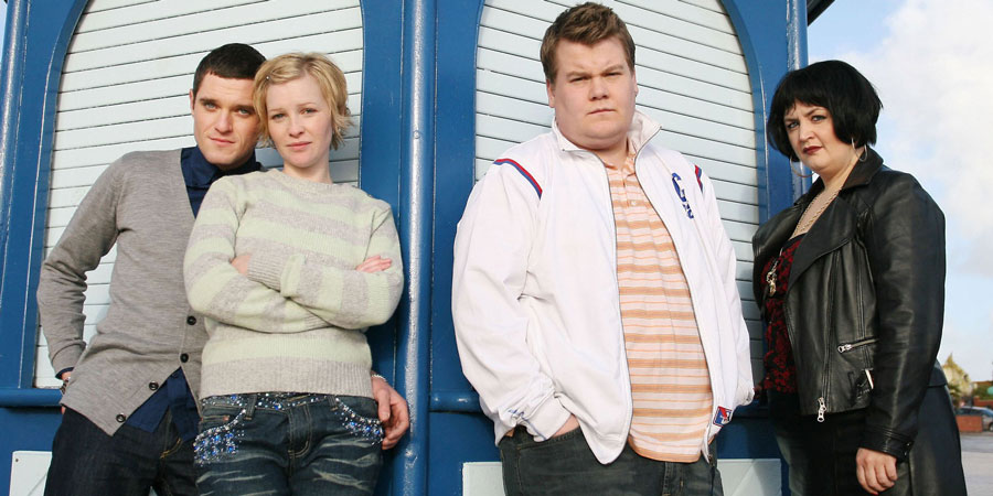 Gavin & Stacey. Image shows from L to R: Gavin (Mathew Horne), Stacey (Joanna Page), Smithy (James Corden), Nessa (Ruth Jones). Copyright: Baby Cow Productions.