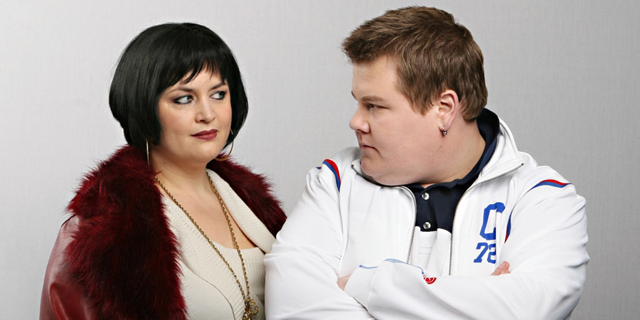 Gavin & Stacey. Image shows from L to R: Nessa (Ruth Jones), Smithy (James Corden). Copyright: Baby Cow Productions.