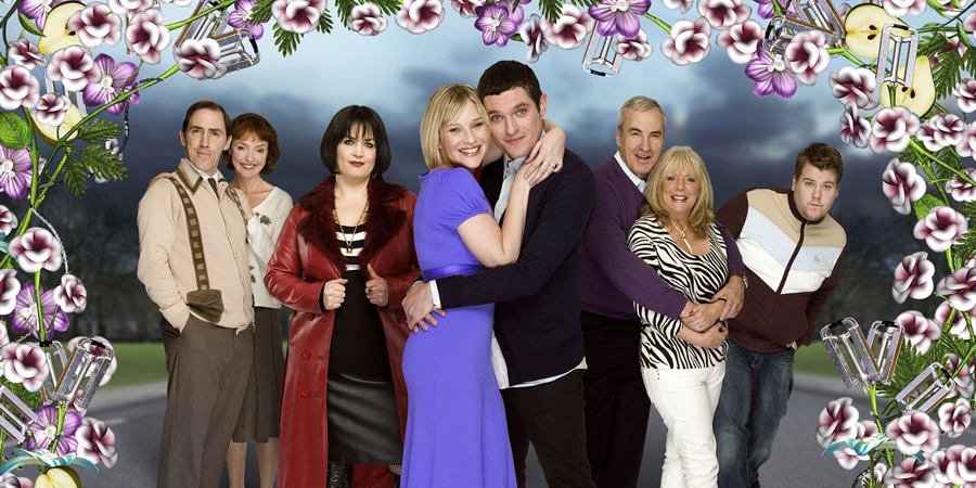 Gavin & Stacey. Image shows from L to R: Bryn (Rob Brydon), Gwen (Melanie Walters), Nessa (Ruth Jones), Stacey (Joanna Page), Gavin (Mathew Horne), Mick (Larry Lamb), Pam (Alison Steadman), Smithy (James Corden). Copyright: Baby Cow Productions.