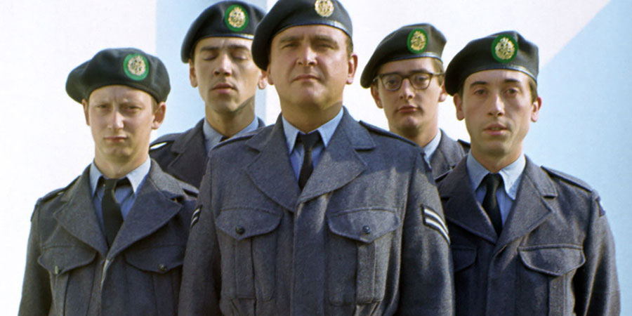 Get Some In!. Image shows from L to R: Bruce Leckie (Brian Pettifer), Jakey Smith (Robert Lindsay), Cpl. Percy Marsh (Tony Selby), Matthew Lilley (Gerard Ryder), Ken Richardson (David Janson). Copyright: Thames Television.