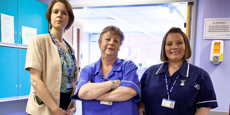 Getting On. Image shows from L to R: Doctor Pippa Moore (Vicki Pepperdine), Nurse Kim Wilde (Jo Brand), Sister Den Flixter (Joanna Scanlan). Copyright: Vera Productions.