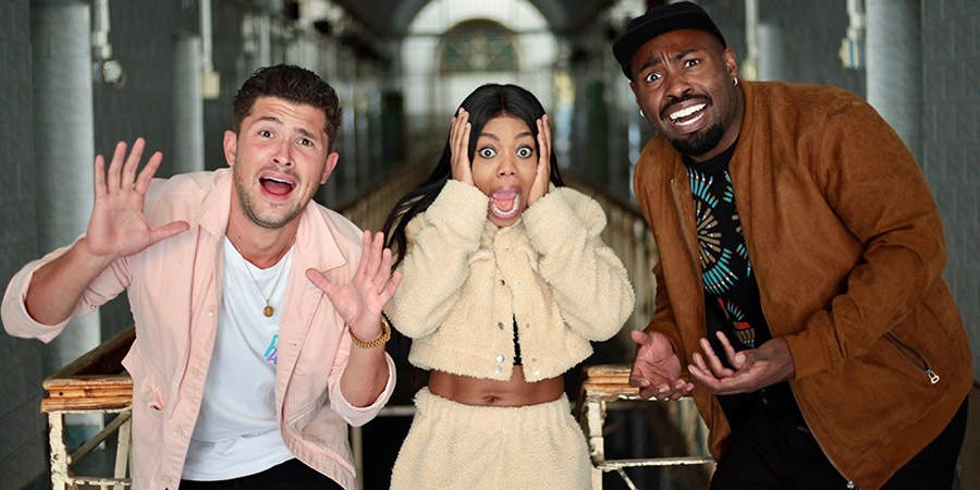 Ghost Bus Tours. Image shows from L to R: Jordan Davies, Lady Leshurr, Darren Harriott. Copyright: Tuesday's Child.