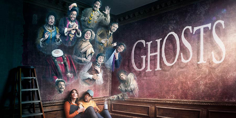 Ghosts. Image shows from L to R: Mary (Katy Wix), Humphrey (Laurence Rickard), Kitty (Lolly Adefope), Alison (Charlotte Ritchie), Lady Button (Martha Howe-Douglas), Mike (Kiell Smith-Bynoe), Pat (Jim Howick), Thomas (Mathew Baynton), Captain (Ben Willbond), Julian (Simon Farnaby), Unknown. Copyright: Monumental Pictures.