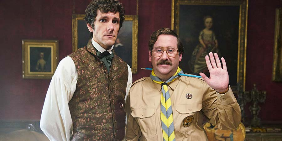 Ghosts. Image shows from L to R: Thomas Thorne (Mathew Baynton), Pat (Jim Howick). Copyright: Monumental Pictures.
