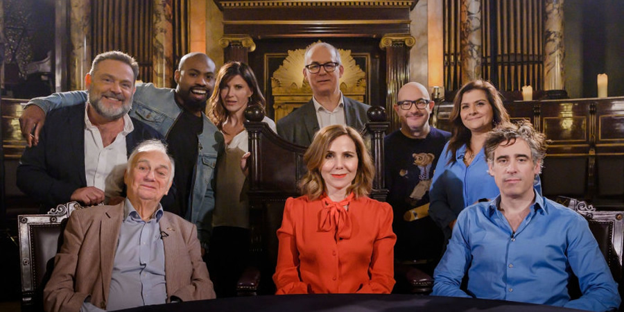 Britain's Greatest Comedian. Image shows from L to R: John Thomson, Roy Hudd, Darren Harriott, Ronni Ancona, David Quantick, Sally Phillips, Boyd Hilton, Nina Wadia, Stephen Mangan. Copyright: Crook Productions.