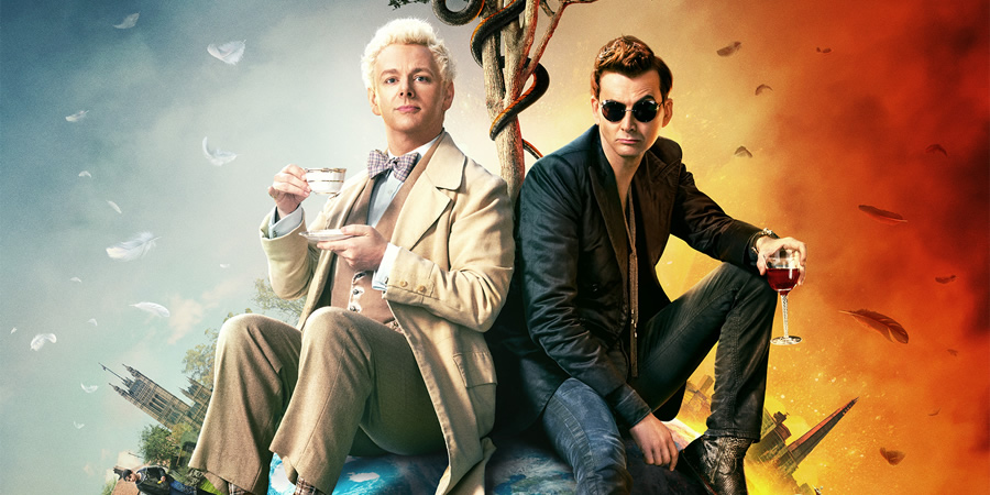 Good Omens. Image shows from L to R: Aziraphale (Michael Sheen), Crowley (David Tennant).