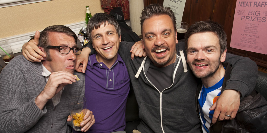 Great Night Out. Image shows from L to R: Glyn (Craig Parkinson), Beggsy (William Ash), Hodge (Lee Boardman), Daz (Stephen Walters).