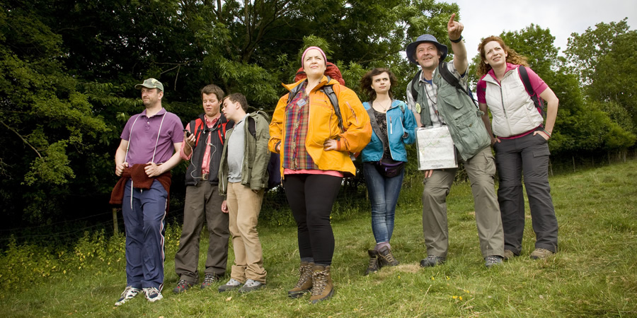The Great Outdoors. Image shows from L to R: Tom (Steve Edge), Joe (Stephen Wight), Victor (Joe Tracini), Christine (Ruth Jones), Hazel (Gwyneth Keyworth), Bob (Mark Heap), Sophie (Katherine Parkinson).