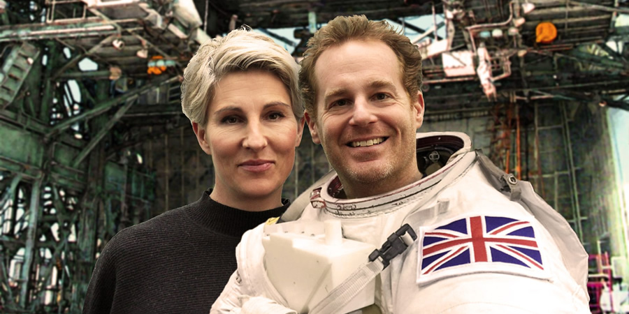 Ground Control. Image shows from L to R: Tess (Tamsin Greig), Scott (Adam James). Copyright: BBC.