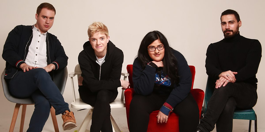 GrownUpLand. Image shows from L to R: Ned Sedgwick, Mae Martin, Bisha K Ali, Steve Ali. Copyright: BBC.