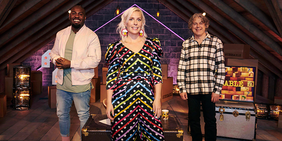 Guessable. Image shows from L to R: Darren Harriott, Sara Pascoe, Alan Davies. Copyright: Tuesday's Child.