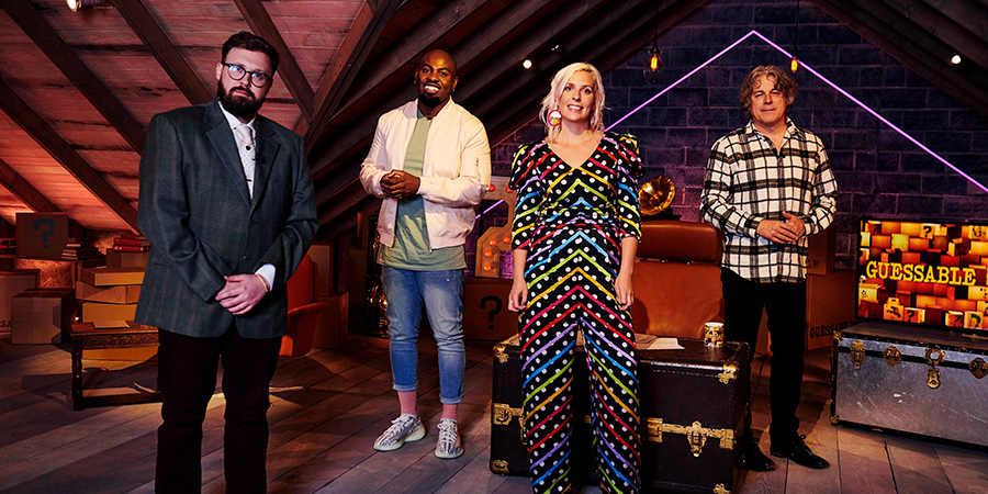 Guessable. Image shows from L to R: John Kearns, Darren Harriott, Sara Pascoe, Alan Davies. Copyright: Tuesday's Child.