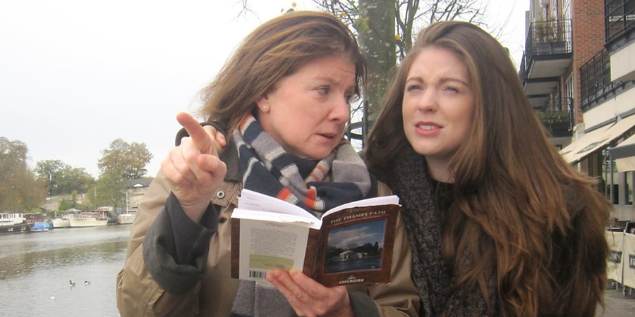 Guilt Trip. Image shows from L to R: Ros (Felicity Montagu), Laura (Olivia Nixon). Copyright: BBC.