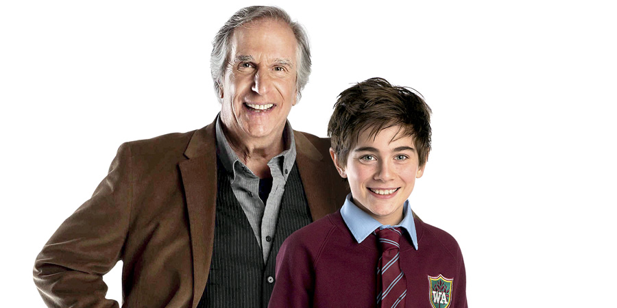 Hank Zipzer. Image shows from L to R: Mr Rock (Henry Winkler), Hank Zipzer (Nick James).