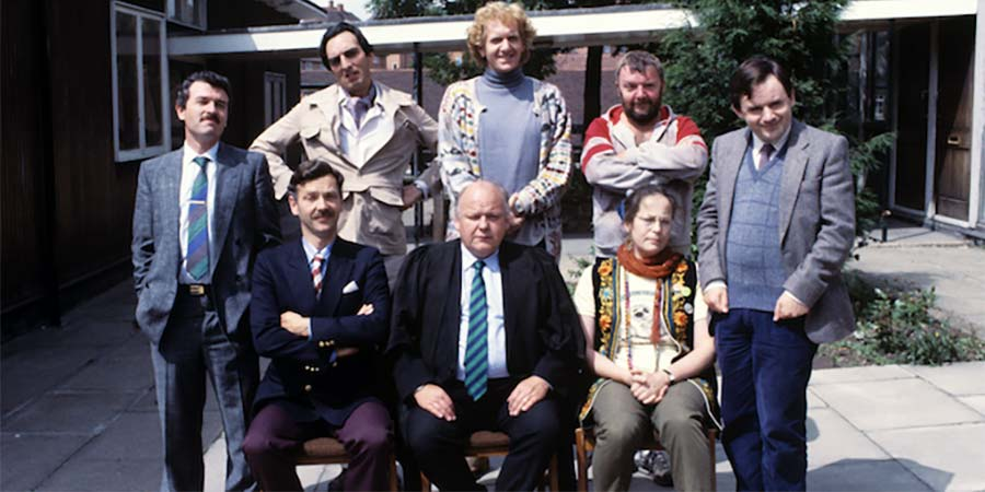 Hardwicke House. Image shows from L to R: Mr. Flashman (Gavin Richards), Mr. Mackintosh (Roger Sloman), Mr. Fowl (Granville Saxton), Mr. Wickham (Roy Kinnear), Moose Magnusson (Duncan Preston), Mr. Savage (Tony Haygarth), Ms. Crabbe (Pam Ferris), Peter Philpott (Nick Wilton). Copyright: Central Independent Television.