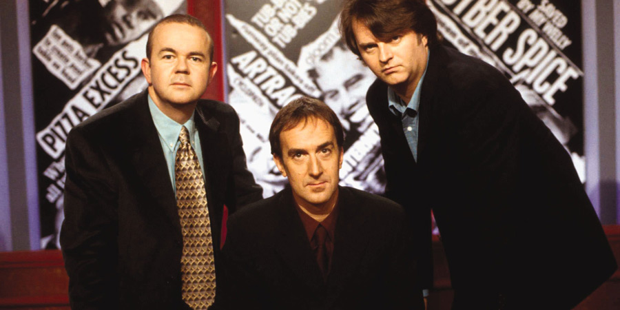 Have I Got News For You. Image shows from L to R: Ian Hislop, Angus Deayton, Paul Merton.