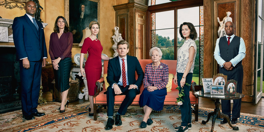Henry IX. Image shows from L to R: Franny (Colin Salmon), Lady Leonora (Gina Bellman), Queen Katerina (Sally Phillips), King Henry (Charles Edwards), Queen Charlotte (Annette Crosbie), Serena (Kara Tointon), Gilbert (Don Warrington).