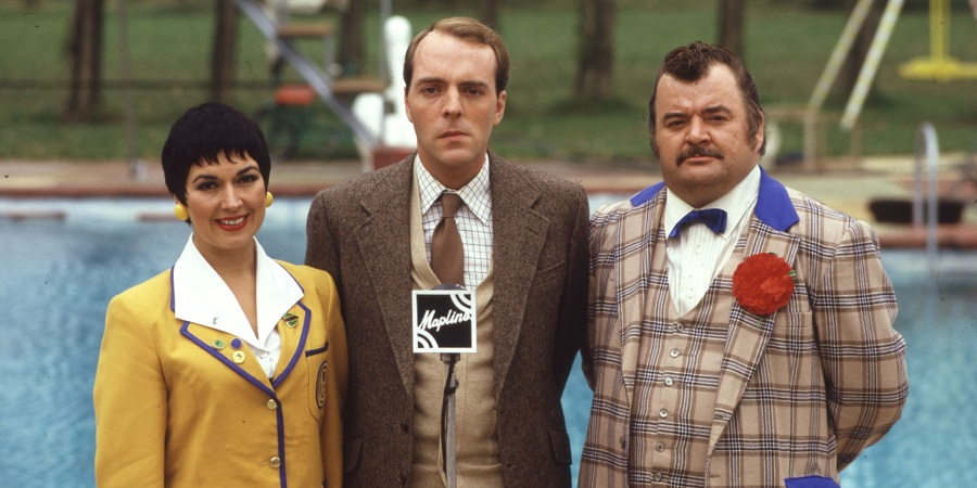 Hi-De-Hi!. Image shows from L to R: Gladys Pugh (Ruth Madoc), Jeffrey Fairbrother (Simon Cadell), Ted Bovis (Paul Shane). Copyright: BBC.