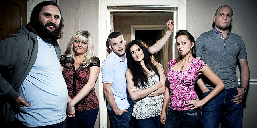Him & Her. Image shows from L to R: Dan (Joe Wilkinson), Shelly (Camille Coduri), Steve (Russell Tovey), Becky (Sarah Solemani), Laura (Kerry Howard), Paul (Ricky Champ). Copyright: Big Talk Productions.