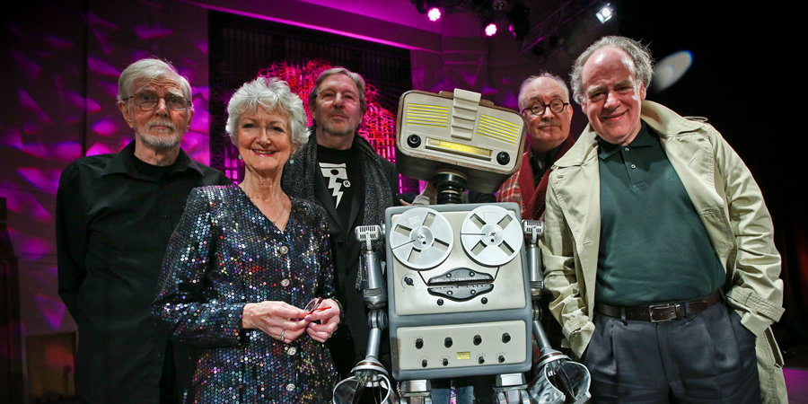 The Hitchhiker's Guide To The Galaxy Live. Image shows from L to R: Marvin the Paranoid Android (Stephen Moore), Trillian (Susan Sheridan), Zaphod Beeblebrox (Mark Wing-Davey), Arthur Dent (Simon Jones), Ford Prefect (Geoffrey McGivern).