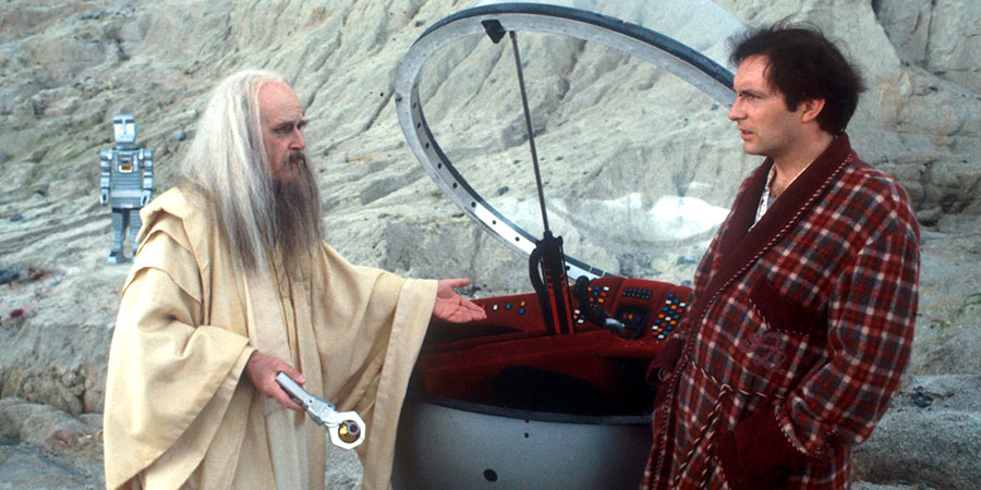 The Hitchhiker's Guide To The Galaxy. Image shows from L to R: Marvin (David Learner), Slartibartfast (Richard Vernon), Arthur Dent (Simon Jones). Copyright: BBC.