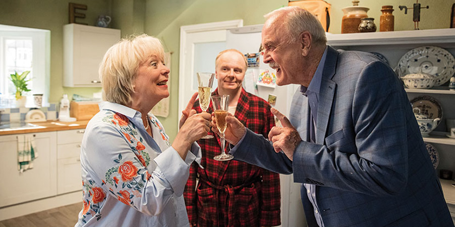 Hold The Sunset. Image shows from L to R: Edith (Alison Steadman), Roger (Jason Watkins), Phil (John Cleese). Copyright: BBC.