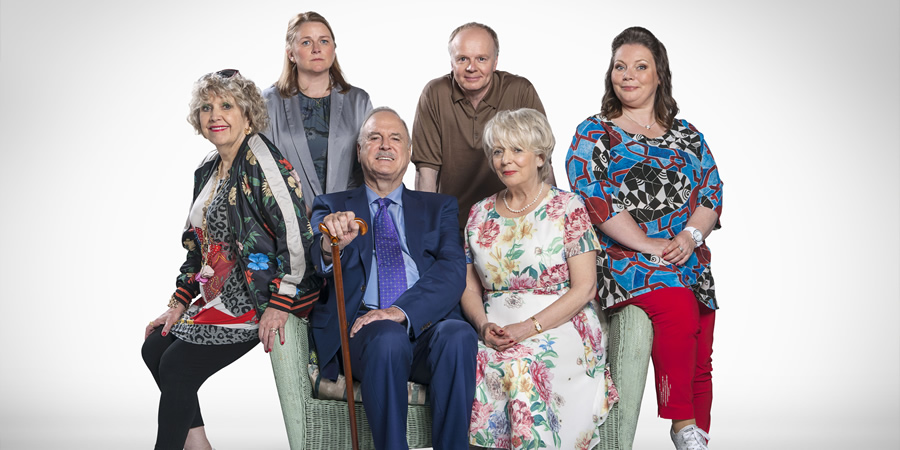 Hold The Sunset. Image shows from L to R: Queenie Gale (Anne Reid), Wendy (Rosie Cavaliero), Phil (John Cleese), Roger (Jason Watkins), Edith (Alison Steadman), Sandra (Joanna Scanlan). Copyright: BBC.