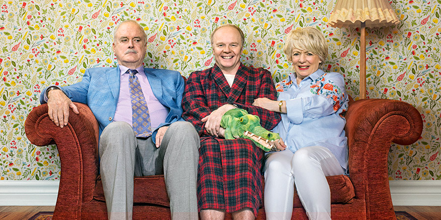 Hold The Sunset. Image shows from L to R:  Phil (John Cleese), Roger (Jason Watkins), Edith (Alison Steadman). Copyright: BBC.