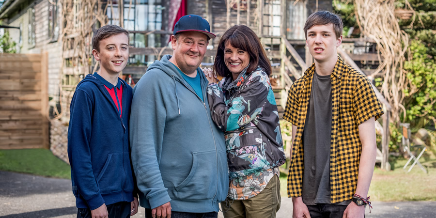 Home From Home. Image shows from L to R: Little Neil Hackett (Harvey Chaisty), Neil Hackett (Johnny Vegas), Fiona Hackett (Niky Wardley), Garth Hackett (Oscar Kennedy). Copyright: BBC.