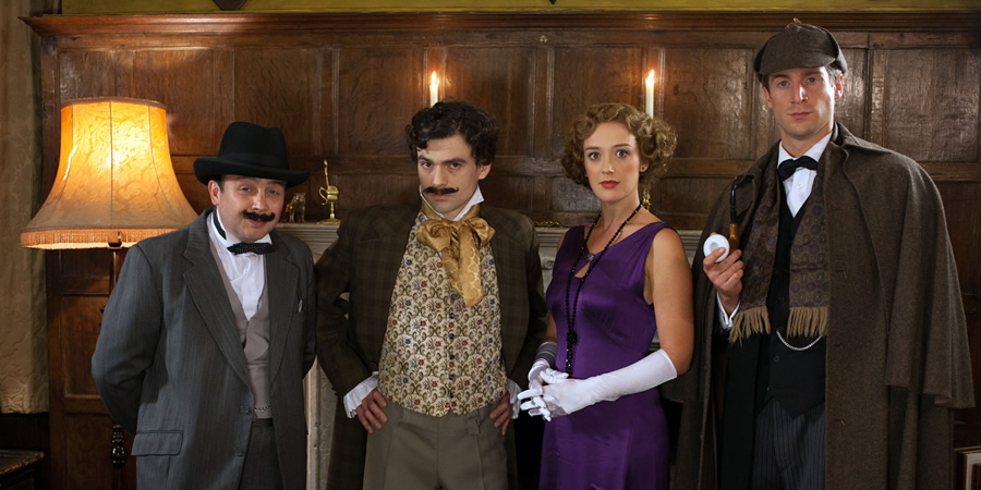 Horrible Histories. Image shows from L to R: Thom Tuck, Jalaal Hartley, Jessica Ransom, Tom Stourton.