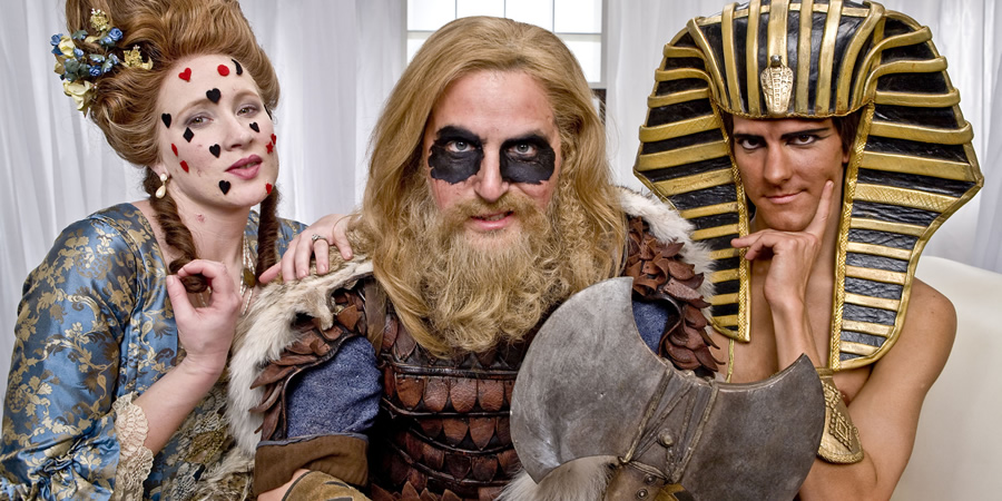 Horrible Histories. Image shows from L to R: Martha Howe-Douglas, Ben Willbond, Mathew Baynton.