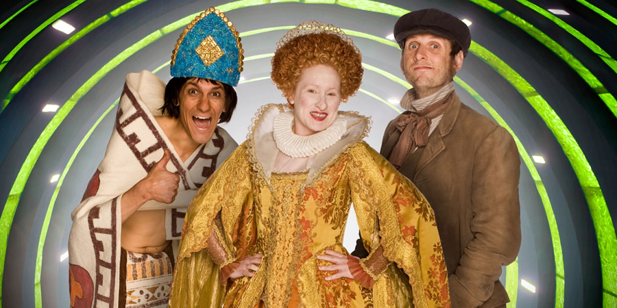 Horrible Histories. Image shows from L to R: Mathew Baynton, Martha Howe-Douglas, Laurence Rickard.