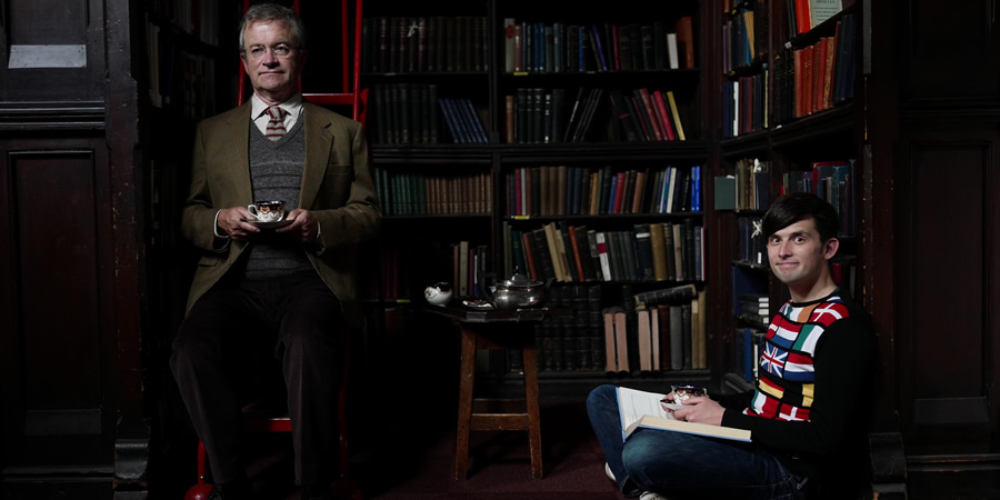 How Europe Stole My Mum. Image shows from L to R: Mr. Librarian (Harry Enfield), Kieran Hodgson.