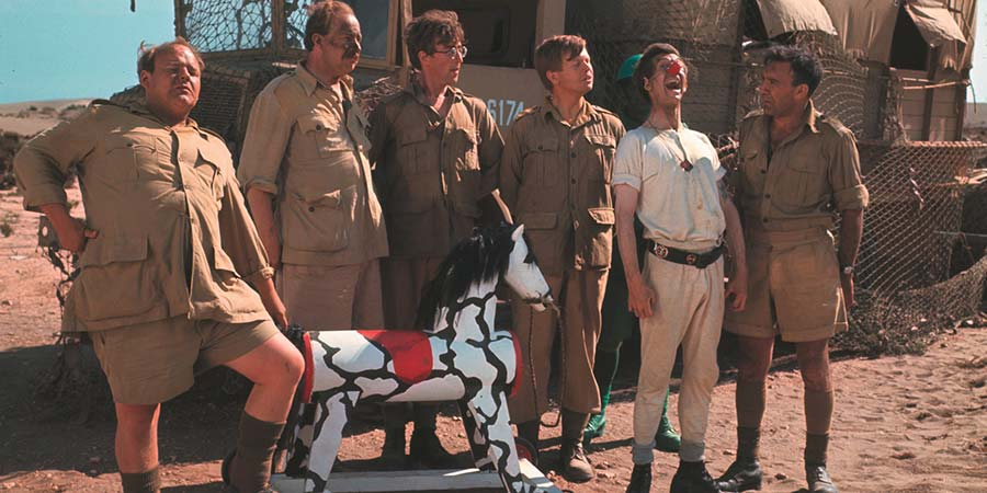 How I Won The War. Image shows from L to R: Clapper (Roy Kinnear), Drogue (James Cossins), Gripweed (John Lennon), Spool (Ronald Lacey), Juniper (Jack McGowran), Transom (Lee Montague). Copyright: Metro-Goldwyn-Mayer.