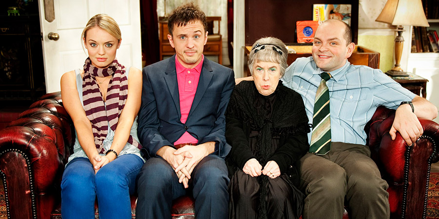 How Not To Live Your Life. Image shows from L to R: Samantha (Laura Haddock), Don Danbury (Dan Clark), Mrs Treacher (Leila Hoffman), Eddie (David Armand). Copyright: Brown Eyed Boy.