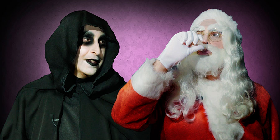How To Date A Magical Creature. Image shows from L to R: Death (Jonah Fazel), Santa (Jonah Fazel).