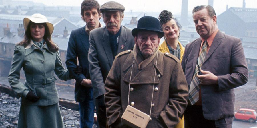 I Didn't Know You Cared. Image shows from L to R: Pat Partington (Anita Carey), Carter Brandon (Stephen Rea), Uncle Mort (Robin Bailey), Uncle Stavely (Bert Palmer), Annie Brandon (Liz Smith), Les Brandon (John Comer). Copyright: BBC.