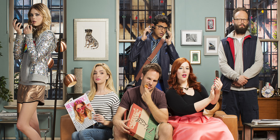 I Live With Models. Image shows from L to R: Molly (Kamilla Alnes), Scarlet (Brianne Howey), Tommy (David Hoffman), Marshall (Karan Soni), Jess (Lydia Rose Bewley), Seth (Alex Beckett). Copyright: Roughcut Television.