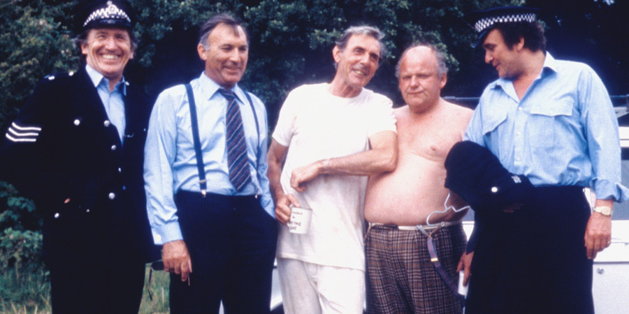 Photograph courtesy of Revelation Films. Image shows from L to R: Knocker Pike (George Sewell), Govnor (Lee Montague), Mr Pangbourne (Eric Sykes), Fishfingers Murdoch (Roy Kinnear), Boozy Barker (Tony Selby). Copyright: Thames Television.