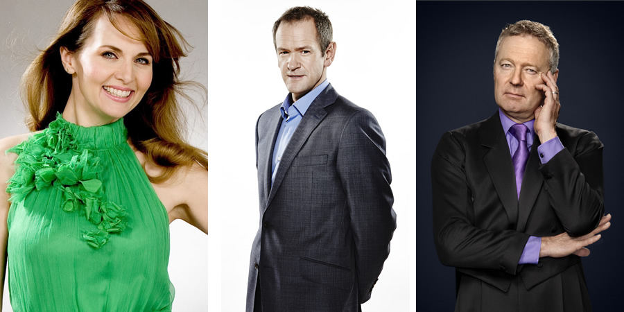 Image shows from L to R: Alexander Armstrong, Rory Bremner, Debra Stephenson.