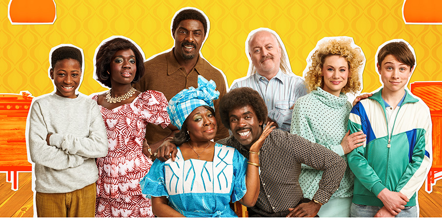 In The Long Run. Image shows from L to R: Kobna (Sammy Kamara), Agnes (Madeline Appiah), Walter (Idris Elba), Mama (Ellen Thomas), Valentine (Jimmy Akingbola), Bagpipes (Bill Bailey), Kirsty (Kellie Shirley), Dean (Mattie Boys).