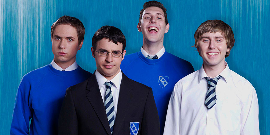 The Inbetweeners: Fwends Reunited. Image shows from L to R: Joe Thomas, Simon Bird, Blake Harrison, James Buckley. Copyright: Bwark Productions.