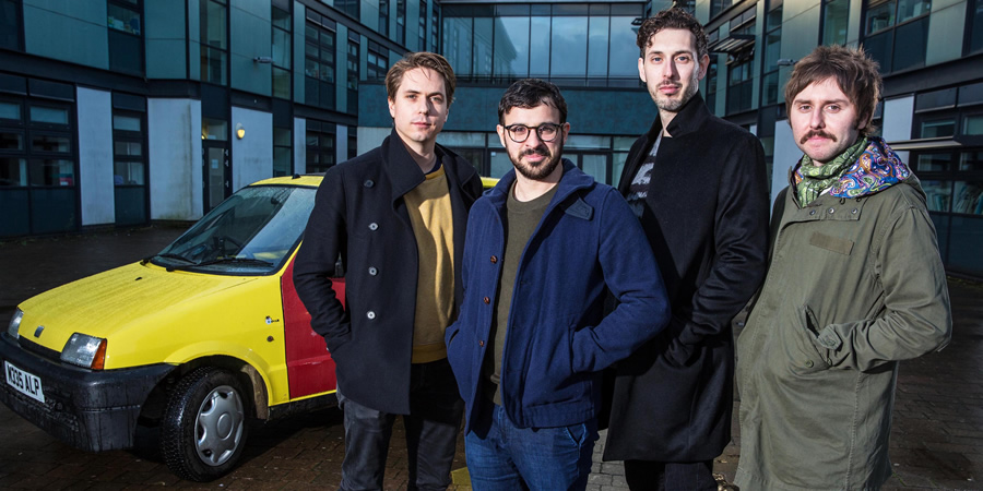 The Inbetweeners: Fwends Reunited. Image shows from L to R: Joe Thomas, Simon Bird, Blake Harrison, James Buckley.
