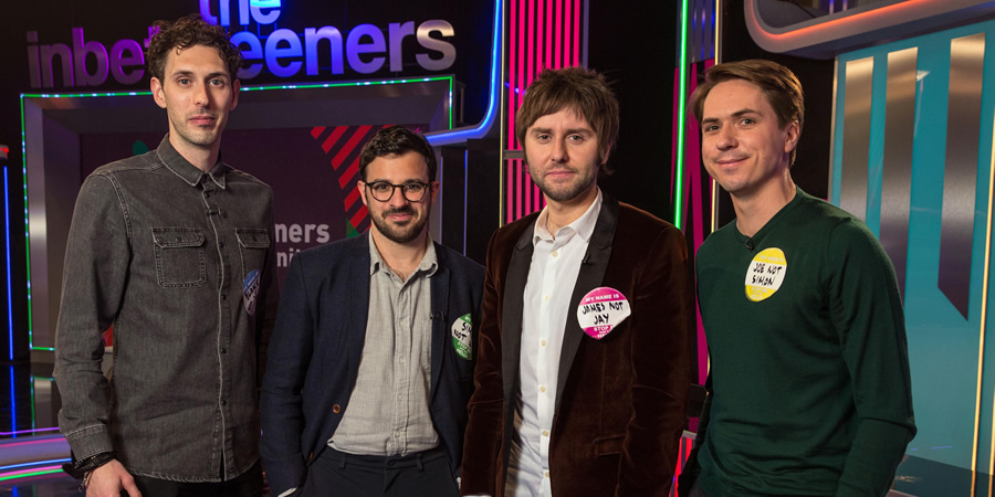 The Inbetweeners: Fwends Reunited. Image shows from L to R: Blake Harrison, Simon Bird, James Buckley, Joe Thomas.
