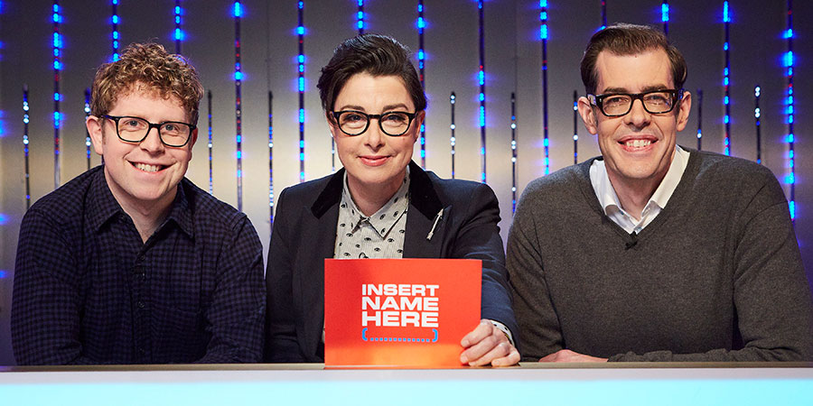 Insert Name Here. Image shows from L to R: Josh Widdicombe, Sue Perkins, Richard Osman. Copyright: 12 Yard Productions.