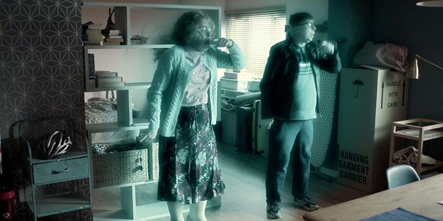 Inside No. 9. Image shows from L to R: Maureen (Reece Shearsmith), David (Steve Pemberton). Copyright: BBC Studios.