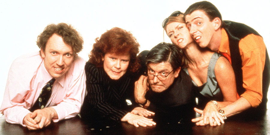 Is It Legal?. Image shows from L to R: Colin Lotus (Richard Lumsden), Stella Phelps (Imelda Staunton), Bob Birch (Patrick Barlow), Alison (Kate Isitt), Darren (Matthew Ashforde). Copyright: Hartswood Films Ltd.